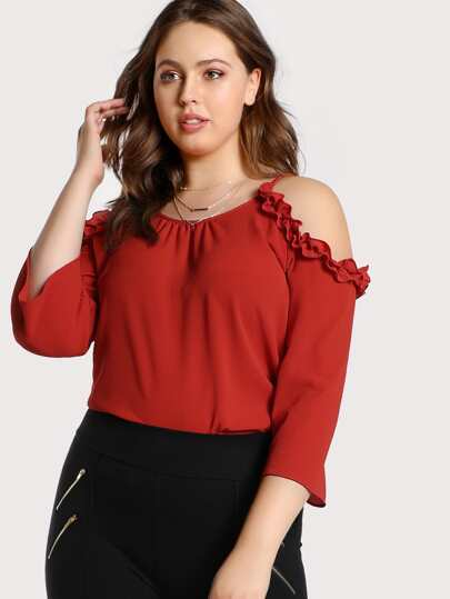 Cold Shoulder Ruffle Accent Top RED