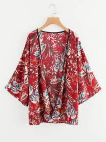 Contrast Trim Botanical Print Kimono