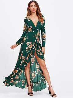 Flower Print Frill Trim Wrap Dress