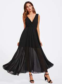 Surplice Double Neck Swing Dress