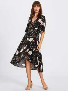 Crane Bird Print Surplice Wrap Dress