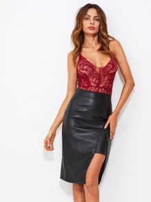 Faux Leather Slit Hem Skirt