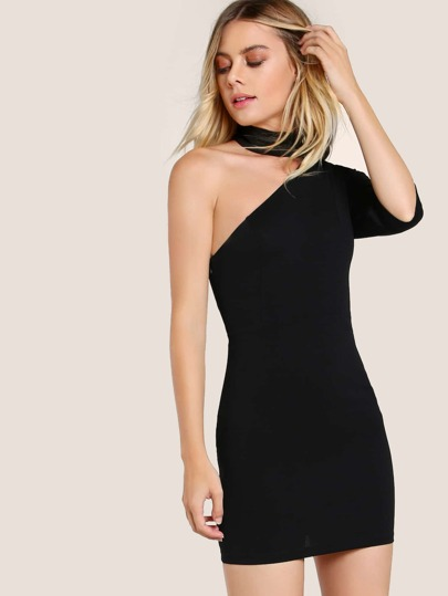 Choker One Shoulder Gigot Sleeve Dress