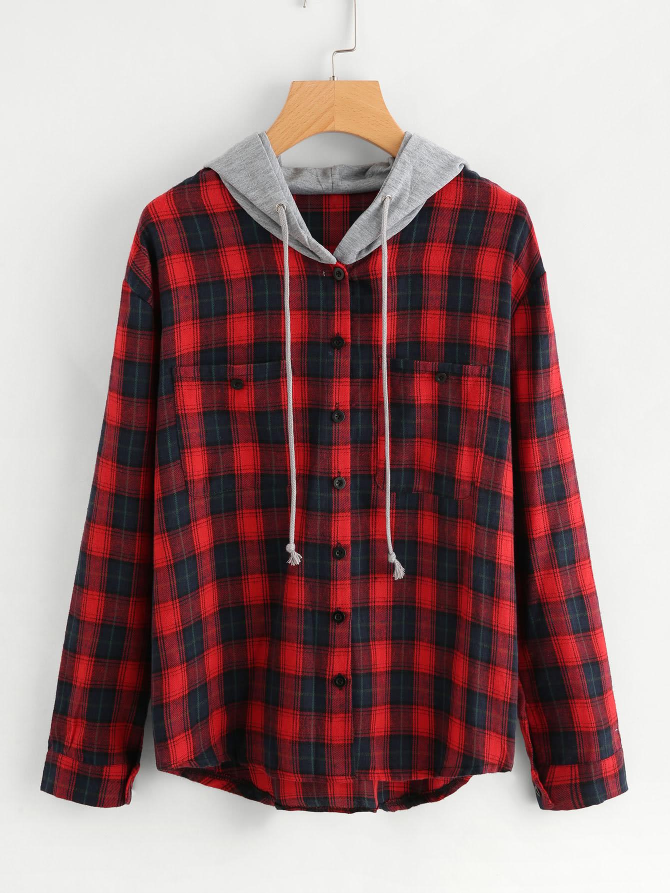 Купить Модный клетчатый свитшот с капюшоном и карманом, null, SheIn