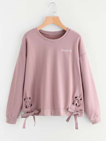 Grommet Lace Up Hem Embroidered Pullover