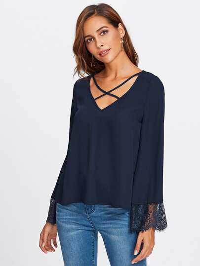 Crisscross Front Lace Trim Fluted Sleeve Top