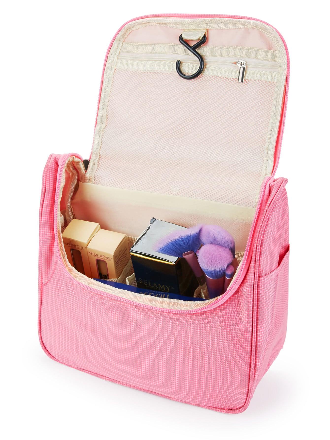 Double Zipper Grid Makeup Bag