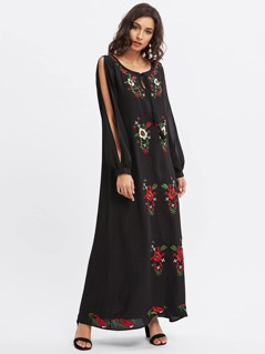 Tassel Tie Neck Split Sleeve Embroidered Dress