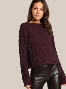 Ribbed Knitted Long Sleeve Sweater PLUM