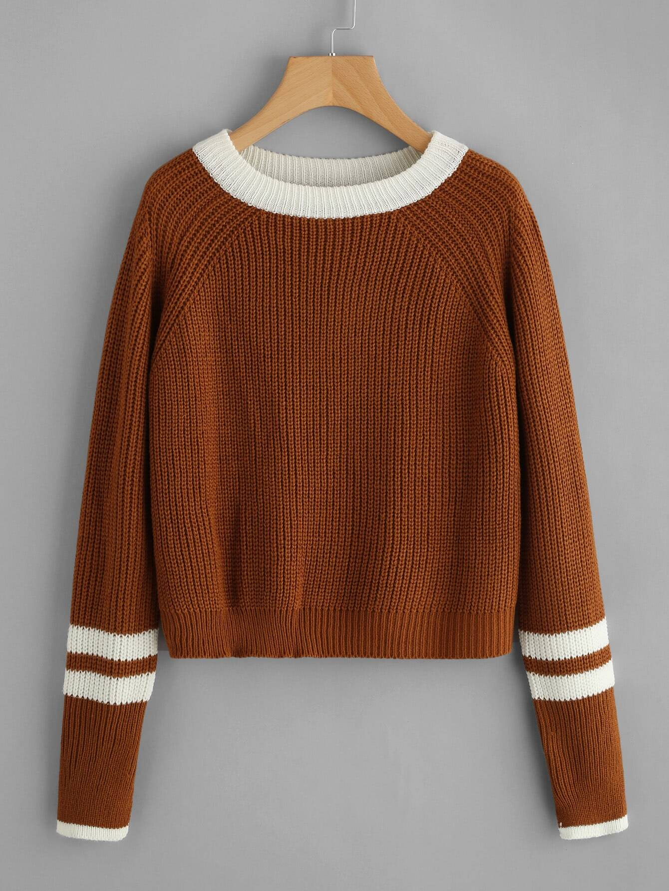 Striped Contrast Trim Cable Sweater RKNI170905120