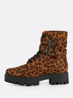 Leopard Print Lace Up Boots LEOPARD