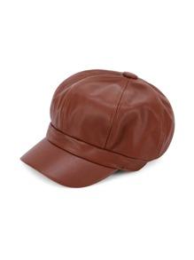 Faux Leather Elastic Bakerboy Cap