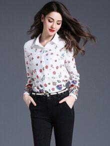 Calico Print Curved Hem Shirt