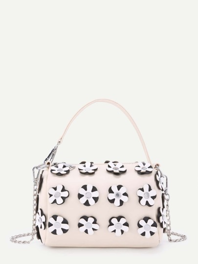 Flower Decorated PU Crossbody Bag With Handle