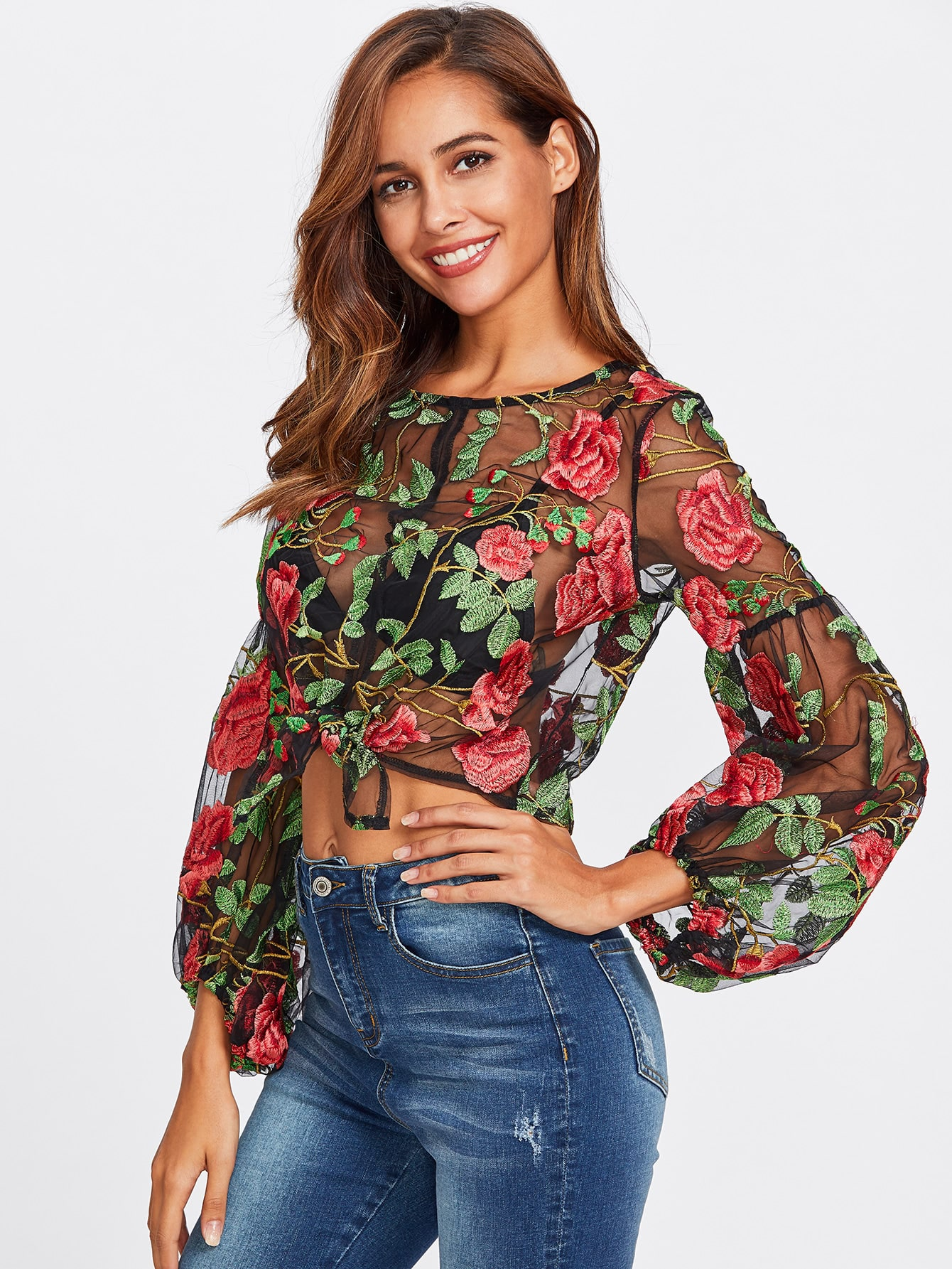 Knot Front Lantern Sleeve Embroidered Mesh Top