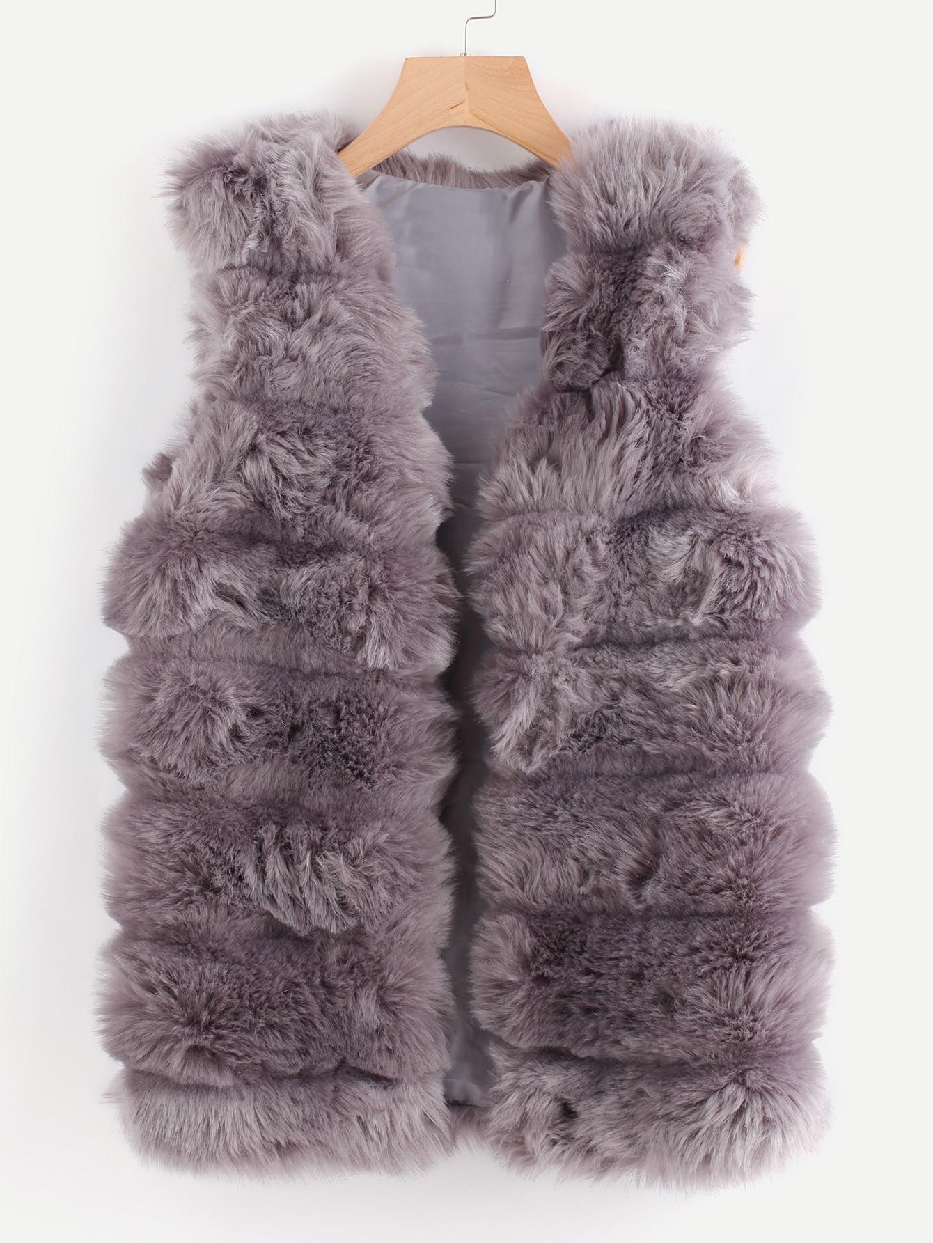 Faux Fur Vest curved faux fur vest