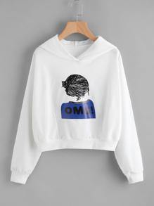 Hooded Girl Print Sweatshirt