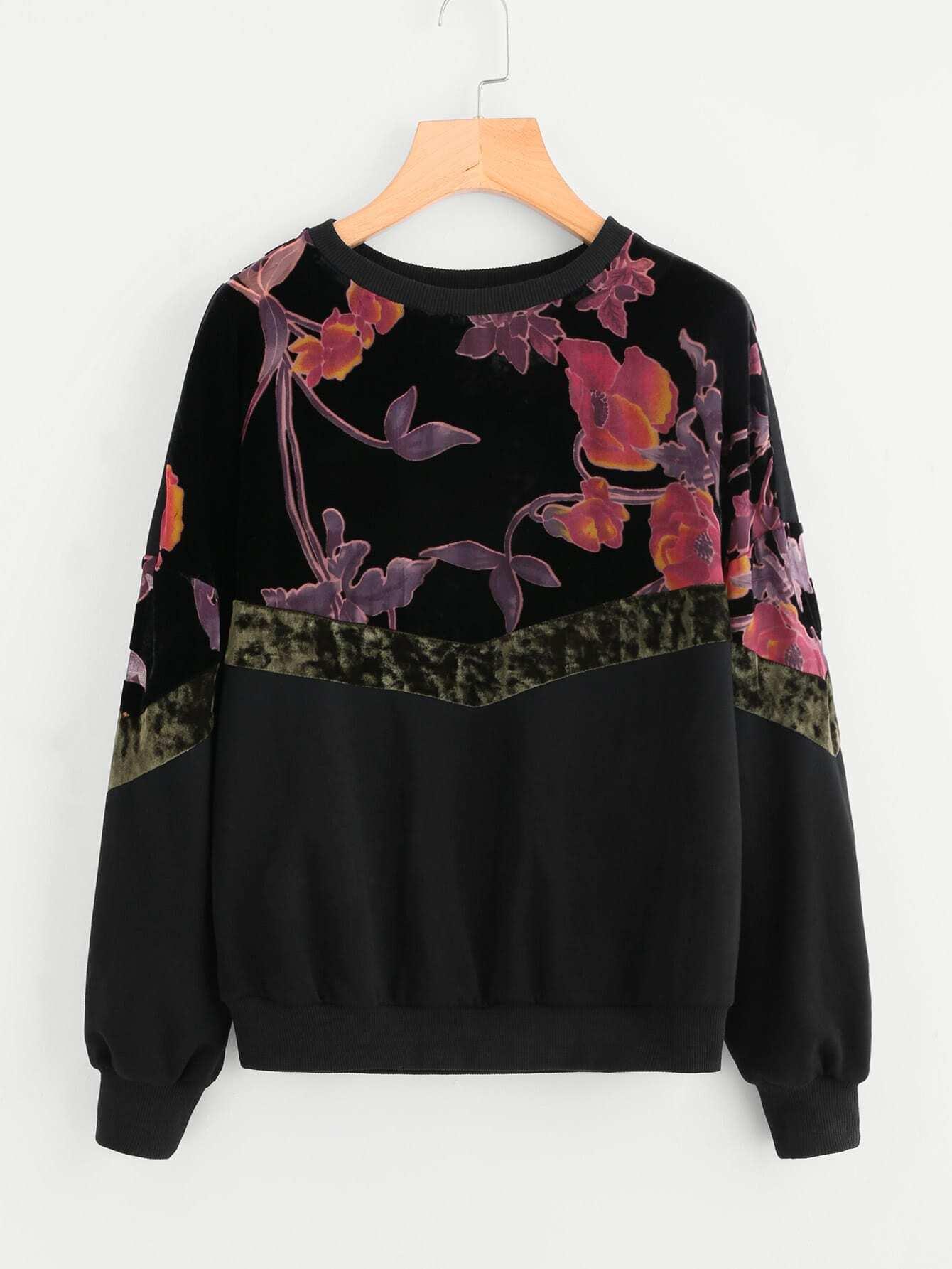 Купить Контрастный модный свитшот с цветочным принтом, null, SheIn