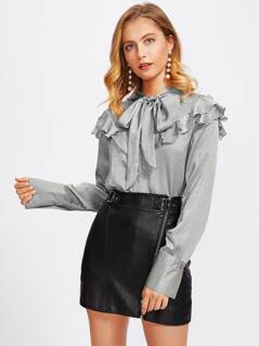 Bow Tie Frilled Yoke Wide Cuff Blouse