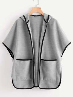 Pocket Front Binding Batwing Hoodie Coat