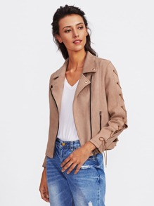 Suede Lace Up Sleeve Biker Jacket