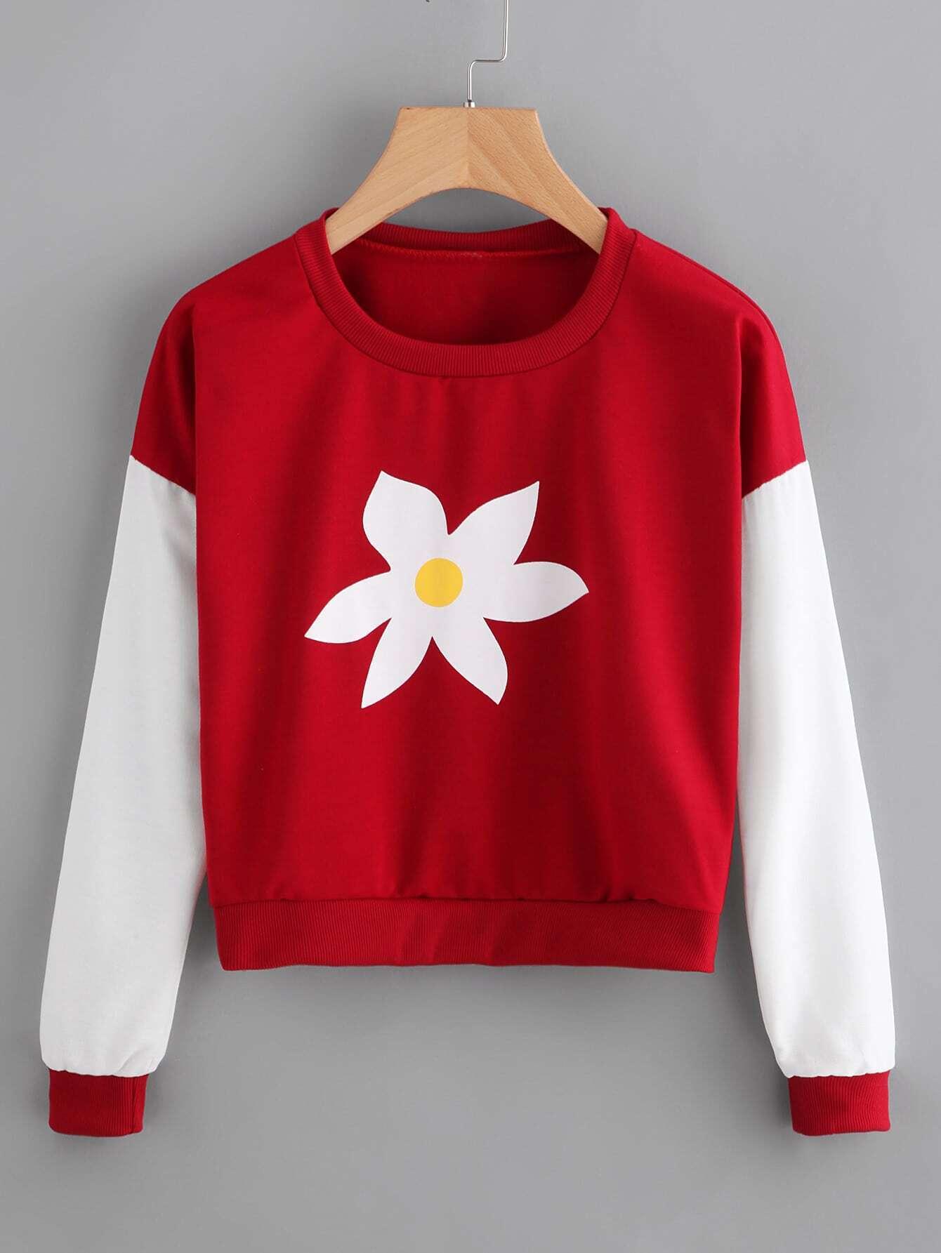 Contrast Sleeve Graphic Print Sweatshirt