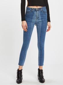 Two-Toned Frayed Hem Skinny Jeans