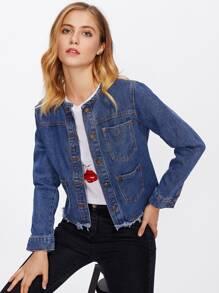 Frayed Hem Pocket Front Denim Jacket
