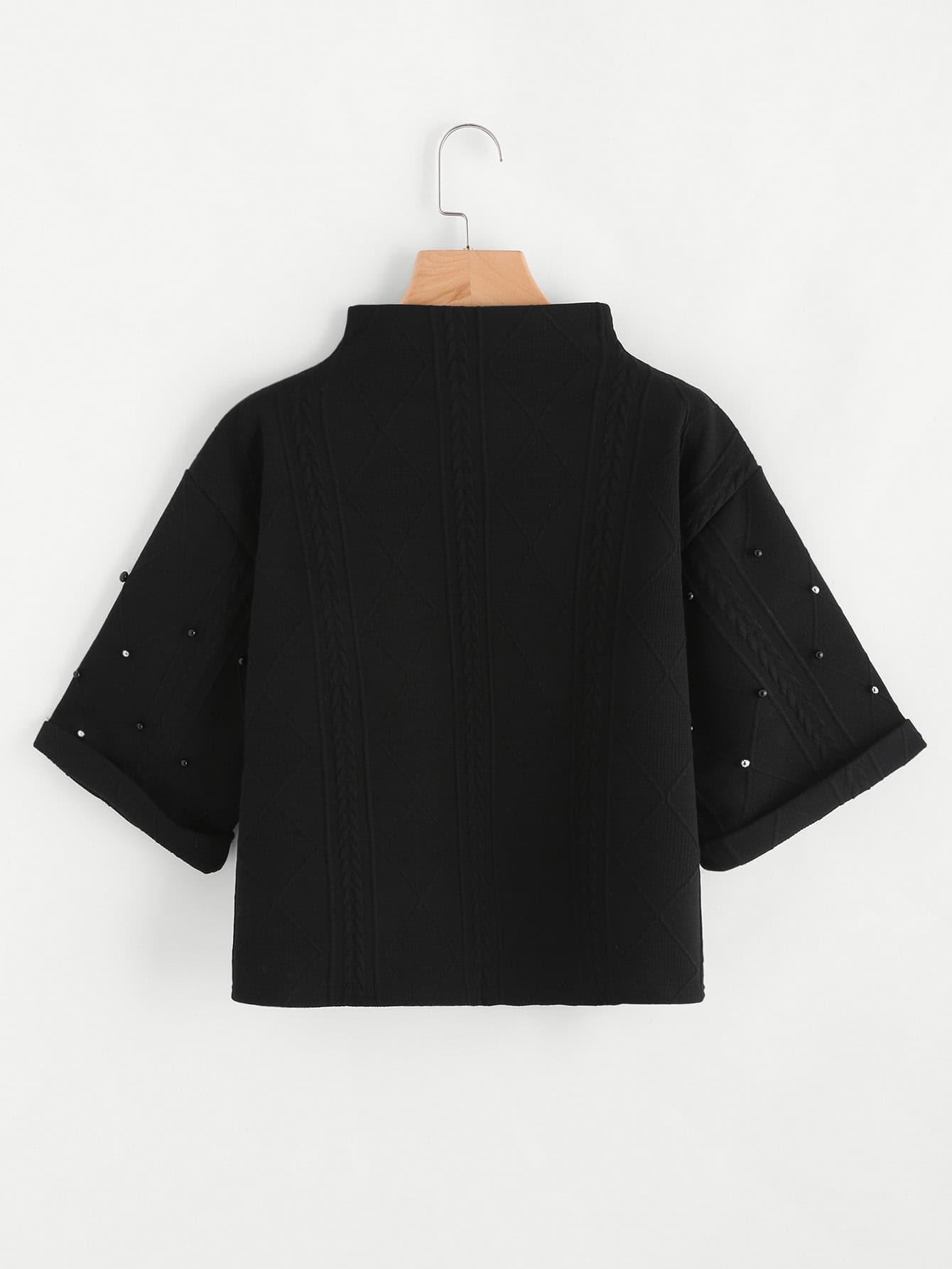 Mock Neck Beading Embossed High Low Sweatshirt