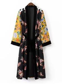 Kimono largo con lazo con estampado de calicó