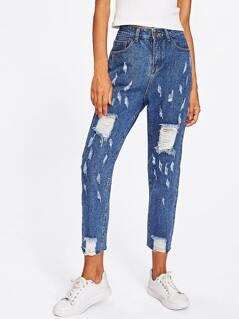 Mid Wash Destroyed Jeans