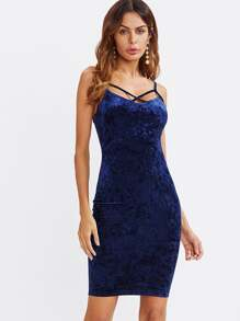 Cross Front Fitting Crushed Velvet Cami Dress