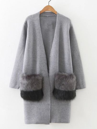 Faux Fur Embellished Pocket Long Line Cardigan