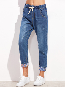 Drawstring Cuffed Jeans