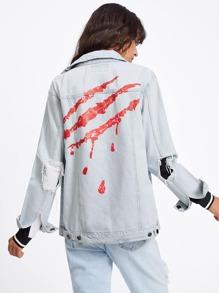 Bleach Wash Destroyed Printed Back Jacket