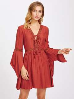 Lace Insert Tassel Tie Front Bell Sleeve Dress