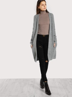 Ribbed Knitted Cardigan GREY
