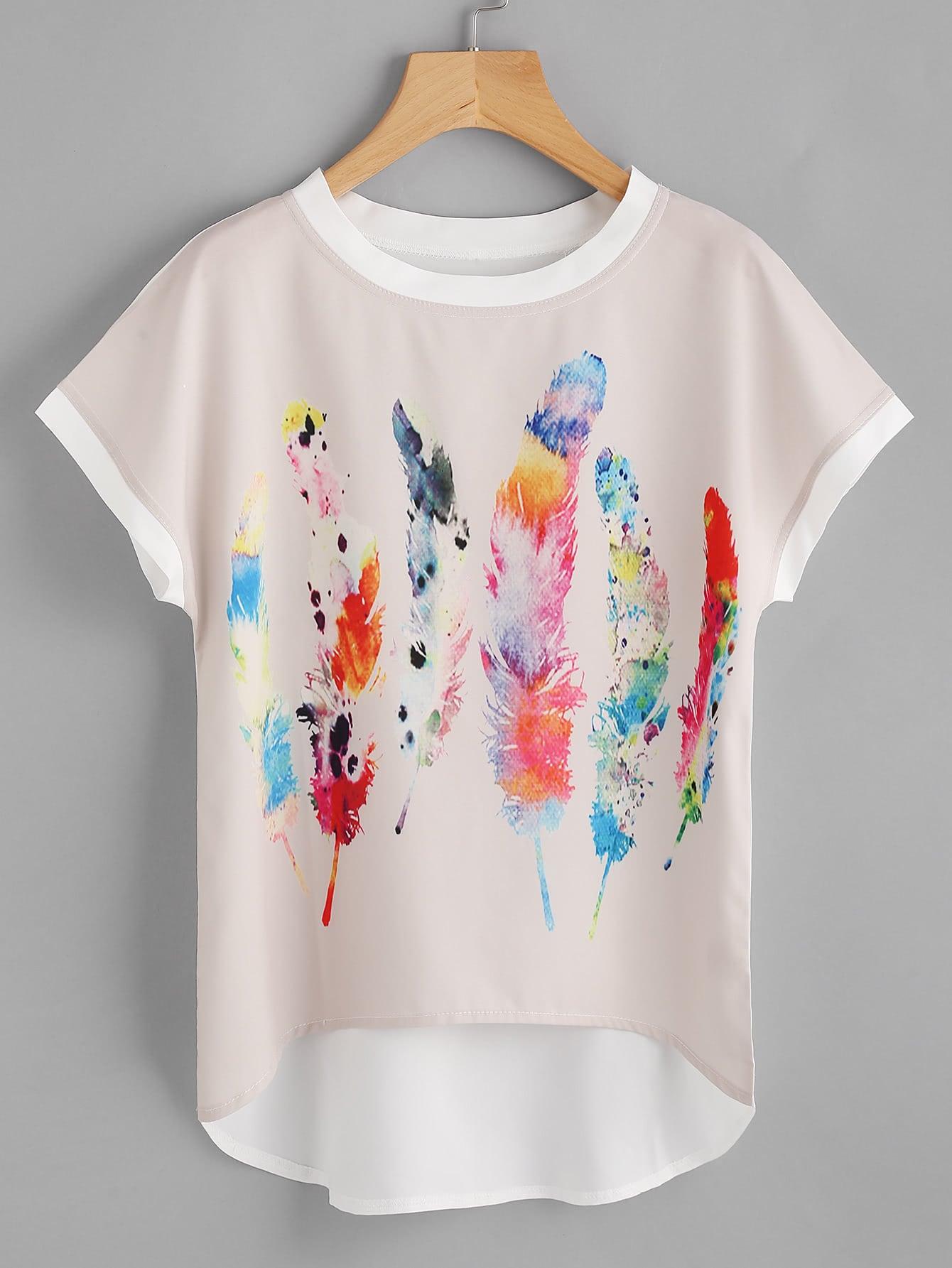 Feather Print Batwing Sleeve Dip Hem Chiffon Top boho print dip hem chiffon top