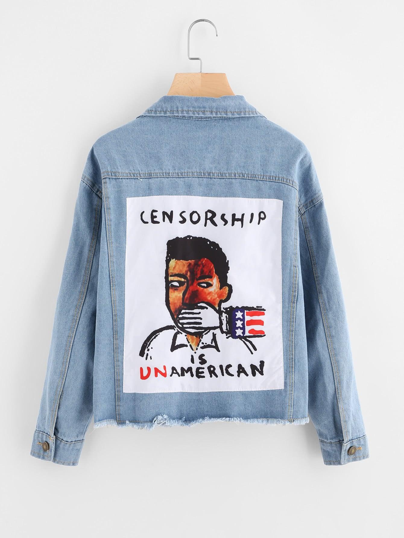 Patch Back Fray Hem Denim Jacket