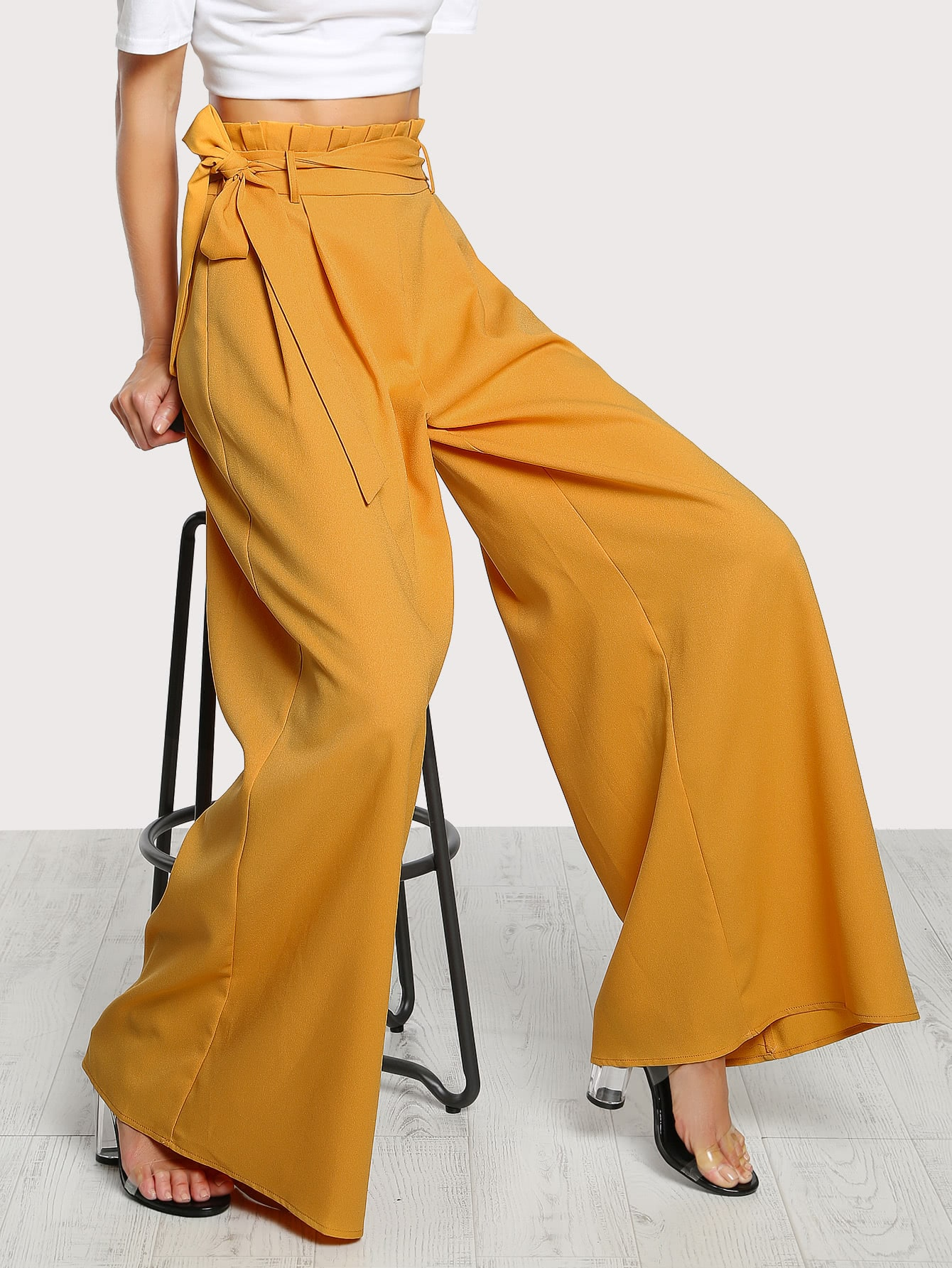 Image of Frill Waist Belted Palazzo Pants