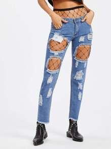 Raw Hem Shredded Jeans With Fishnet Stockings