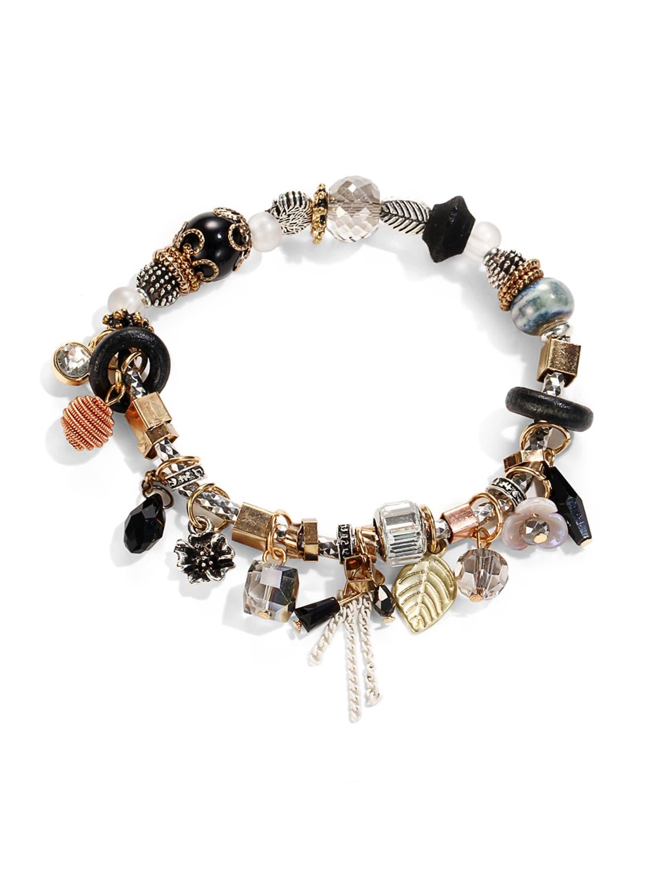 Leaf & Crystal Design Charm Bracelet leaf opening bracelet