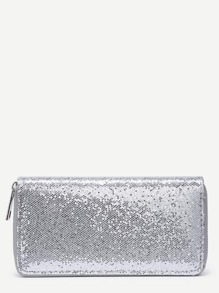 Sequin Decorated Zipper Around PU Wallet