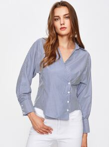 Surplice Striped Single Breasted Shirt