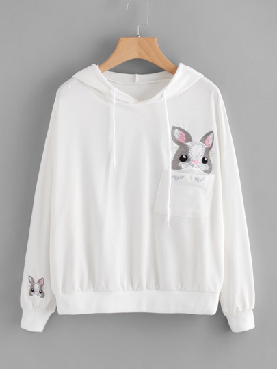 Animal Embroidered Hoodie With Chest Pocket
