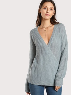 Overlap Detailing Sweater DUSTY BLUE