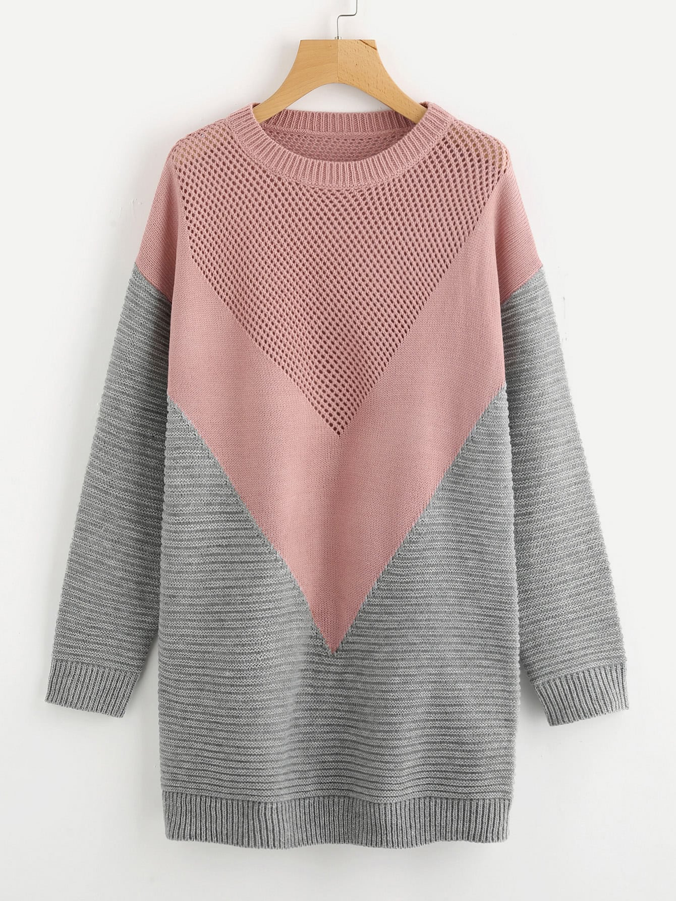 Eyelet Panel Color Block Chevron Jumper sweater170904462