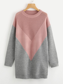 Eyelet Panel Color Block Chevron Jumper