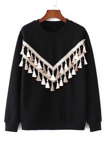 Contrast Tassel Embellished Sweatshirt