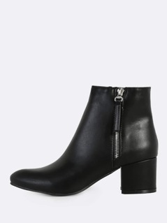 Patent Point Toe Ankle Boots BLACK